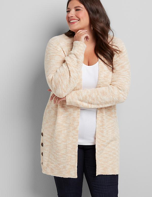 Textured Button-Hem Cardigan