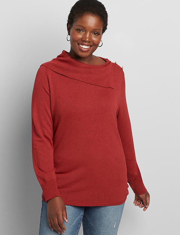 Lane Essentials Split-Collar Ruched-Side Sweater