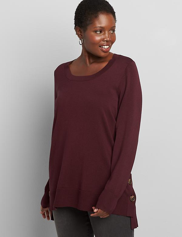Lane Essentials High-Low Button-Hem Sweater