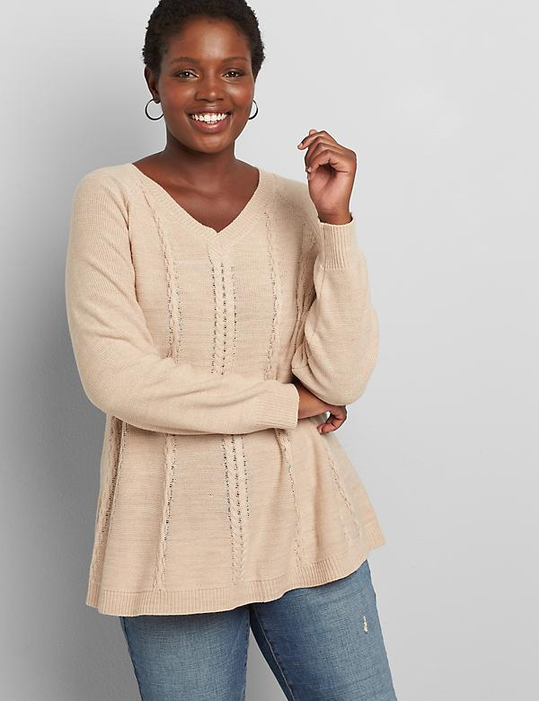 Lane Essentials V-Neck Cable-Stitch Swing Sweater