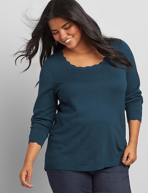 Scalloped Scoop-Neck Sweater
