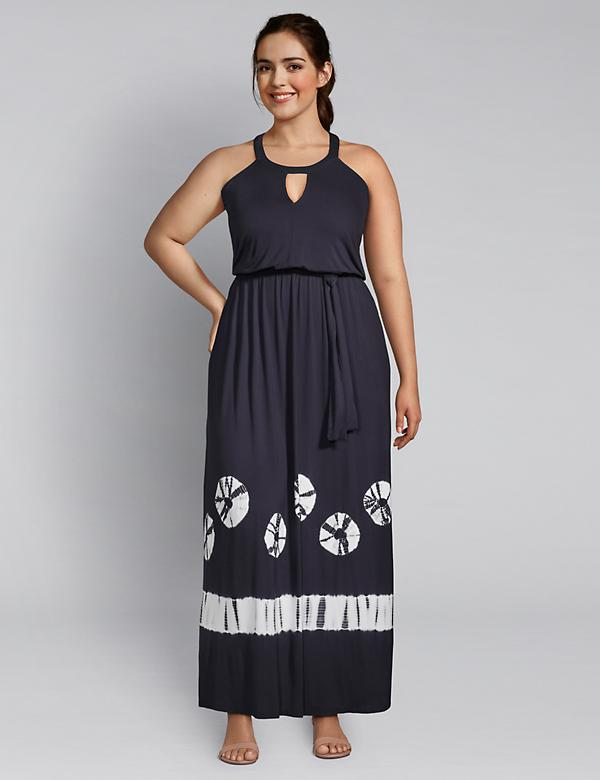 Tie-Dye Hem Keyhole Maxi Dress