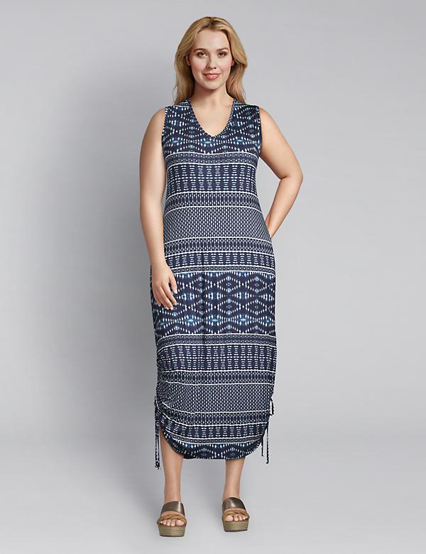 Printed Side-Tie Midi Dress