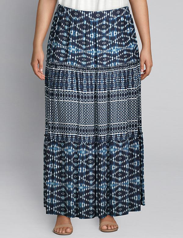 Tiered Printed Midi Skirt