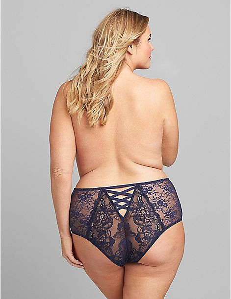 Lace Mid-Waist Strappy-Back Cheeky Panty