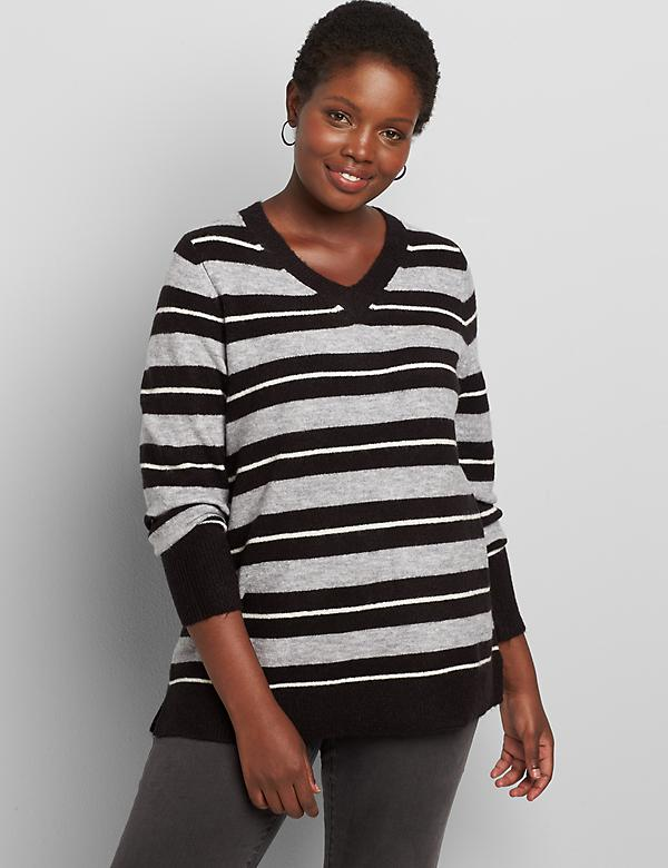 Lane Essentials V-Neck Split-Side Sweater