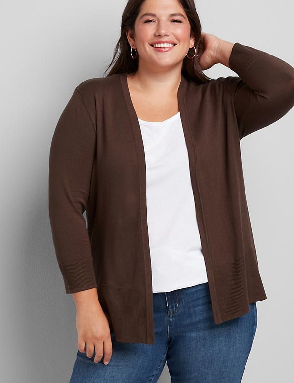 Lane Essentials Rib-Trim Cardigan