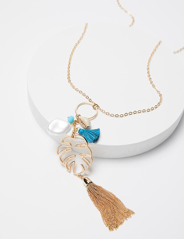Palm Leaf Pendant Chain Necklace