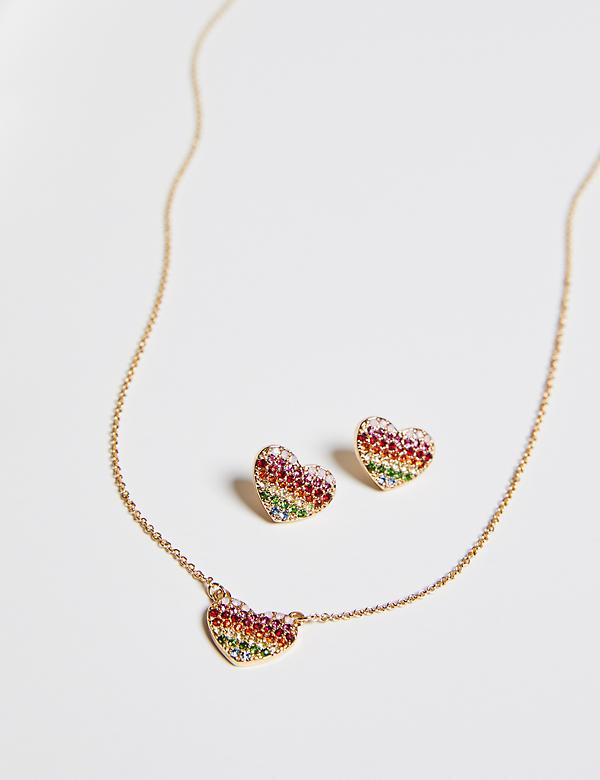 Rainbow Pave Heart Earring & Necklace Set