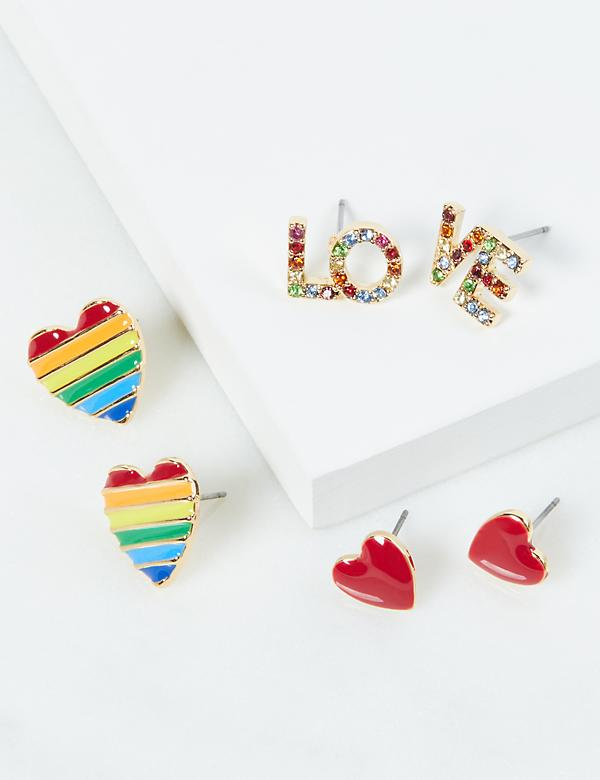Stud Earrings 3-Pack - Rainbow Colors & Pave Hearts