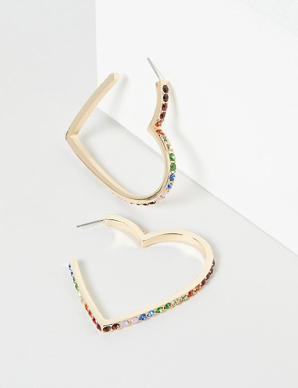 Rainbow Pave Heart Hoop Earrings