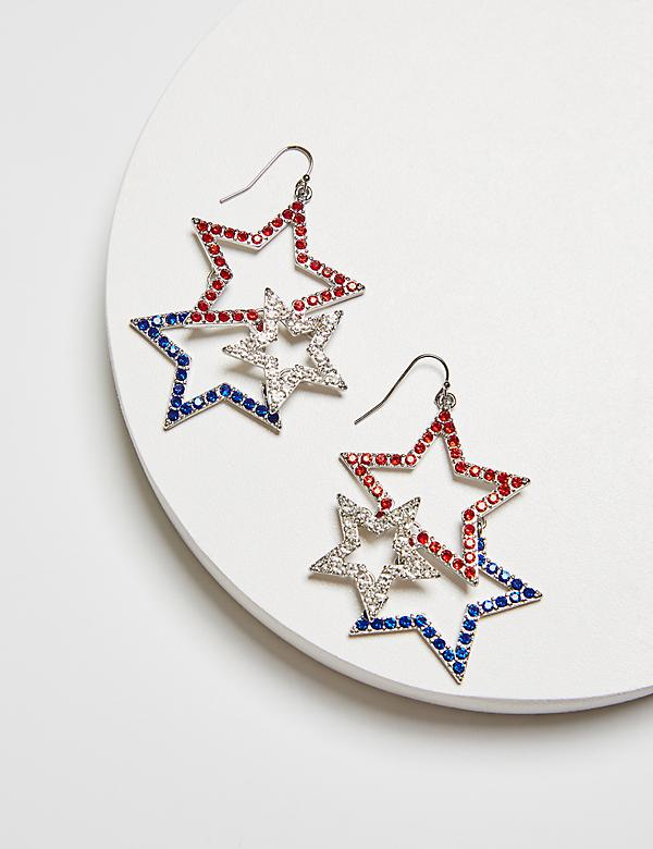 Triple Pave Star Drop Earrings