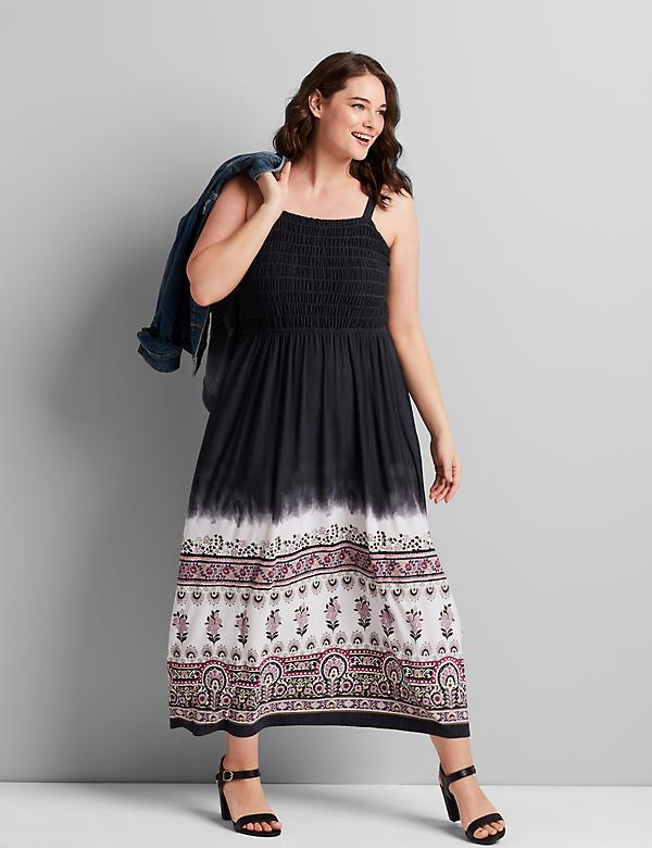 Shirred-Bodice Maxi Dress