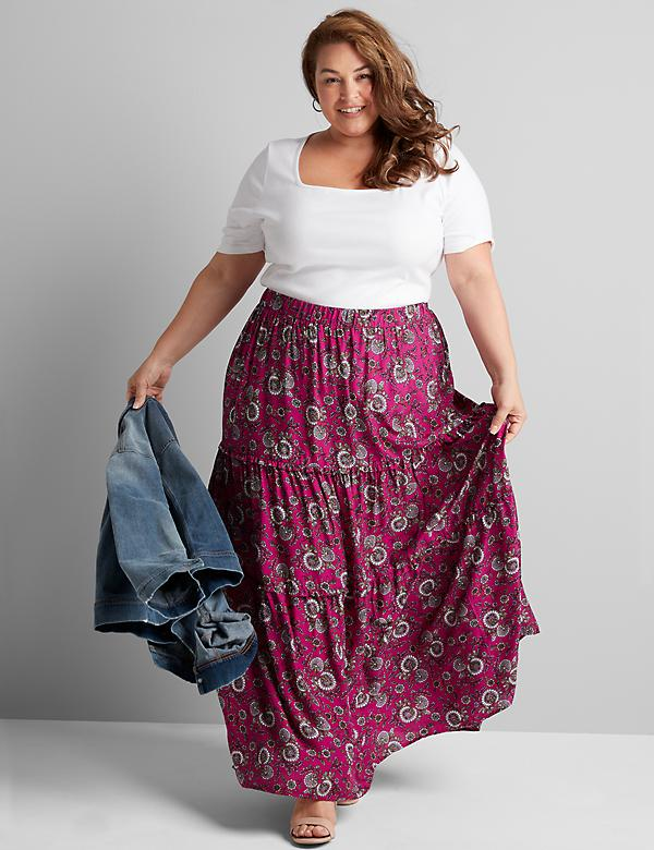 Floral Tiered-Seam Maxi Skirt