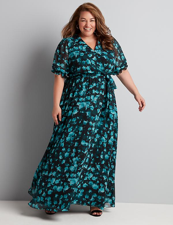 Crossover Floral Maxi Dress