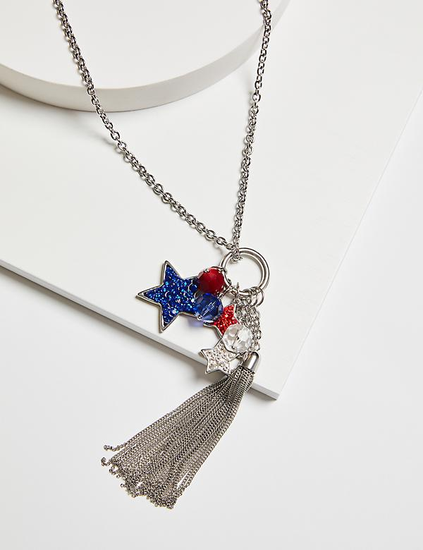 Pave Star Pendant & Tassel Necklace