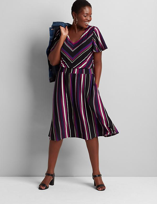 Striped Flutter-Sleeve Fit & Flare Dress