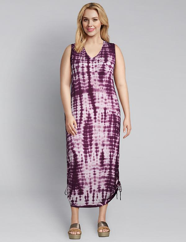 Tie-Dye Side-Tie Midi Dress