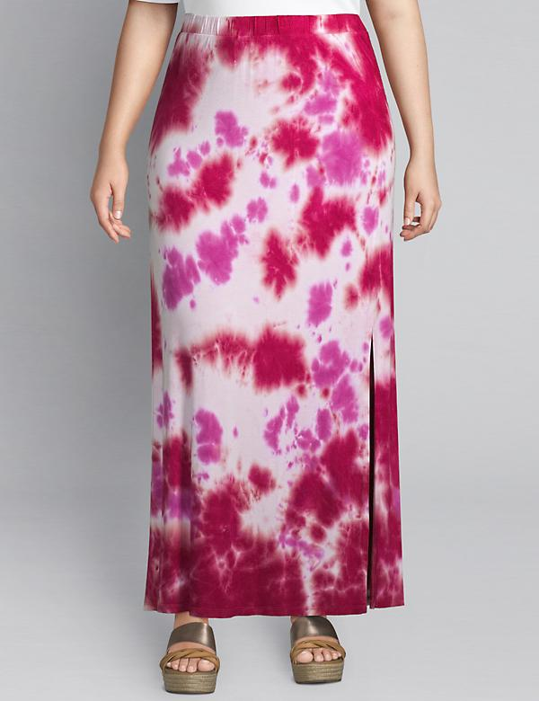 Tie-Dye Pull-On Midi Skirt