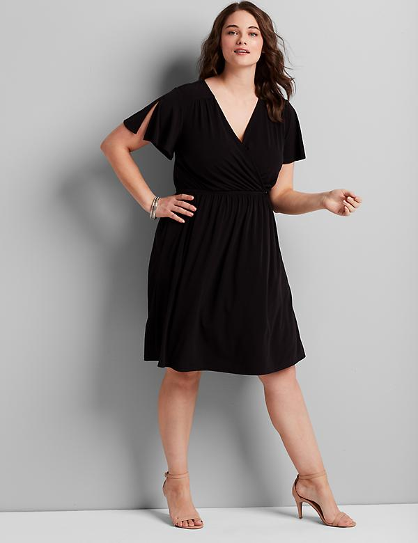 Knit Kit Crossover Fit & Flare Dress