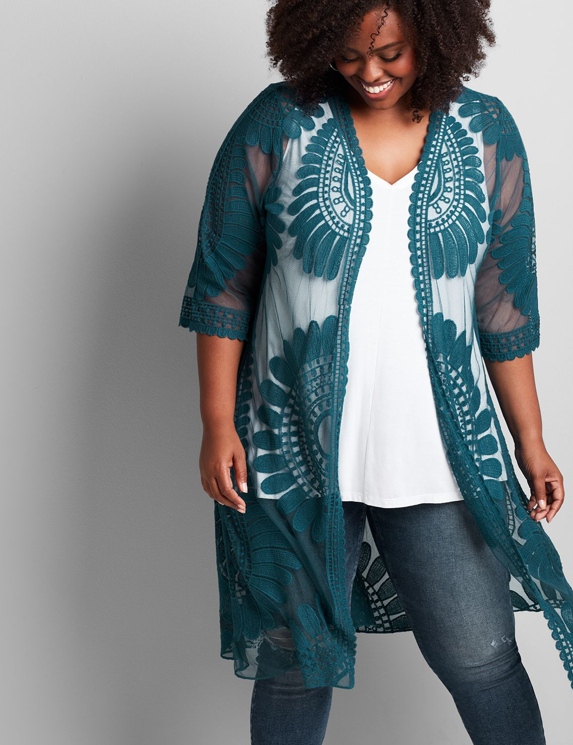 Lane Bryant Women's Embroidered Mesh Overpiece 18/20 Moody Jade