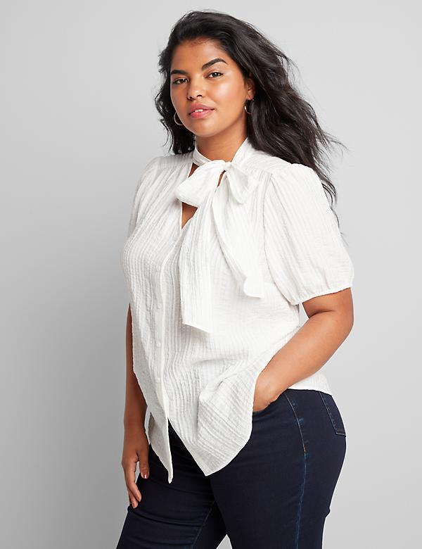 Tie-Neck Button-Front Top