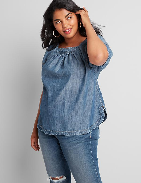 Chambray Square-Neck Popover Top