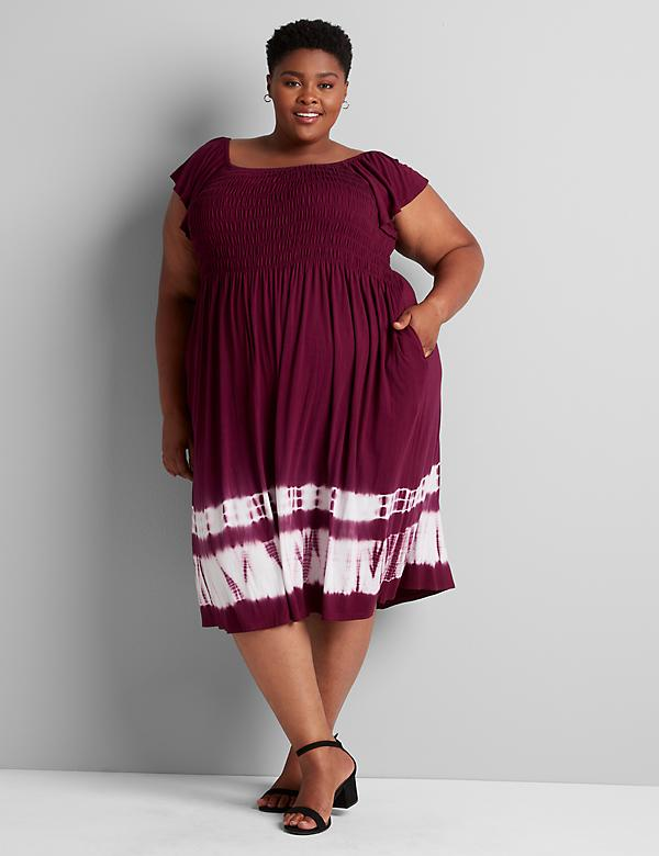 Shirred Tie-Dye Swing Dress