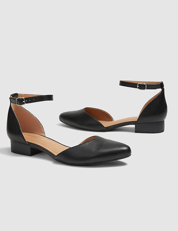 Dream Cloud Two-Piece Ankle Strap Flat - Black Faux Leather