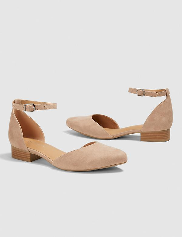 Dream Cloud Two-Piece Ankle Strap Flat - Tan Faux Suede