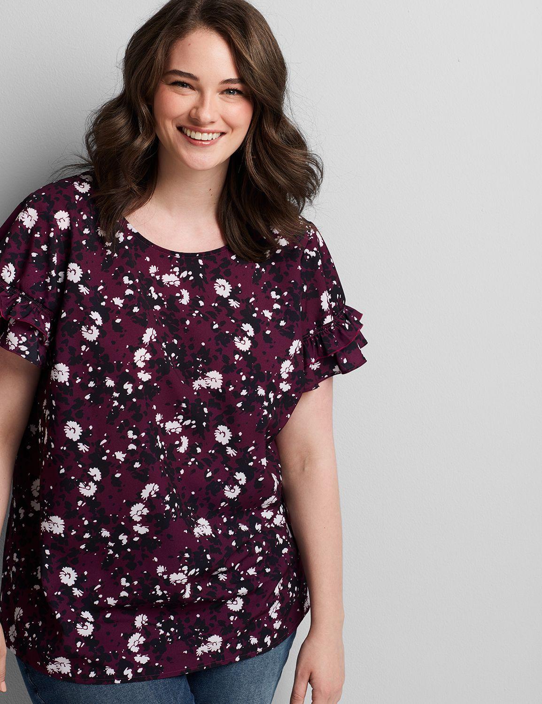 Lane Bryant Women's Flutter-Sleeve Top 12 Cosmos