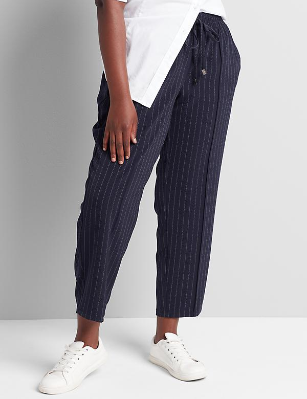 Striped Tailored Stretch Pull-On Ankle Pant