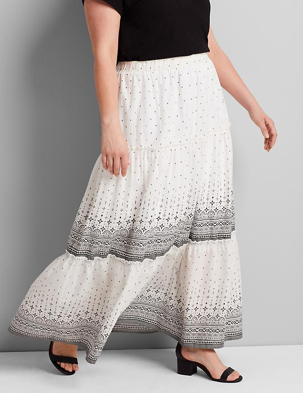 Printed Tiered-Seam Maxi Skirt