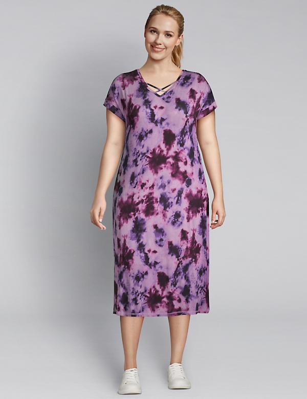 LIVI Strappy V-Neck Tie-Dye Midi Dress