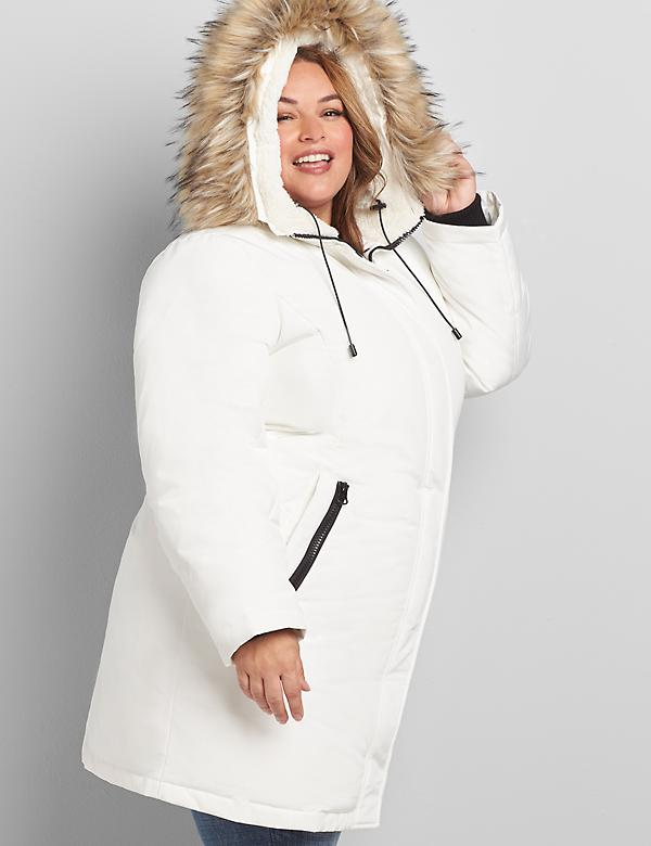 Faux-Fur Trim Hooded Parka Coat
