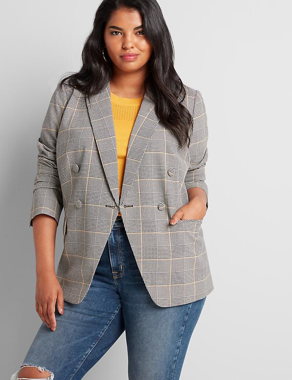 Double Breasted Blazer - Plaid