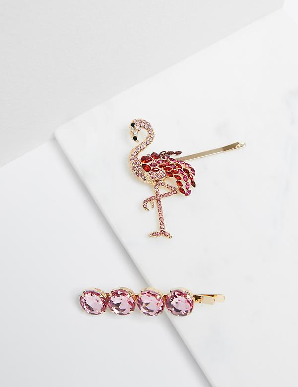 Flamingo & Faceted Stone Bobby Pins - 2-Pack