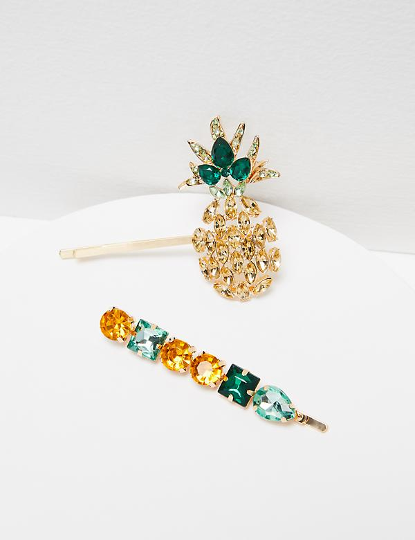 Pineapple & Faceted Stone Bobby Pins - 2-Pack
