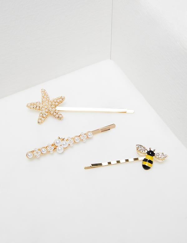 Pearlescent Starfish & Bee Bobby Pins - 3-Pack