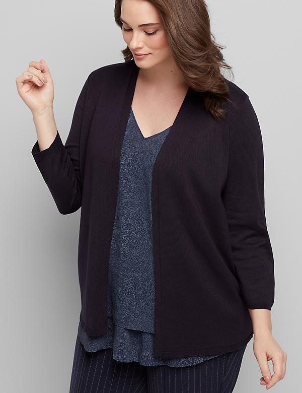 Open-Front Cardigan - 3/4 Sleeves