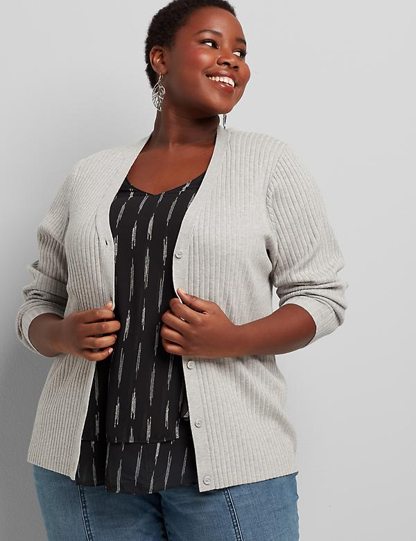 Ribbed V-Neck Button-Front Cardigan