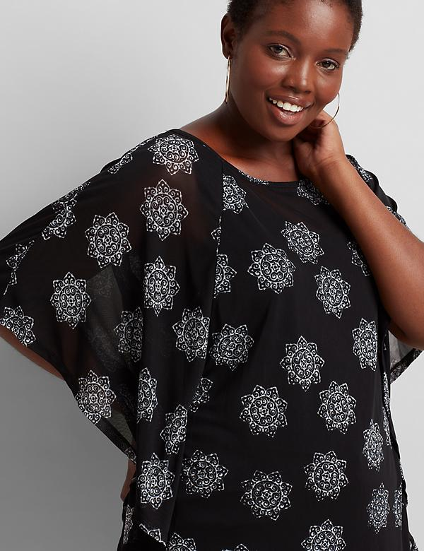 Printed Mesh Poncho Top