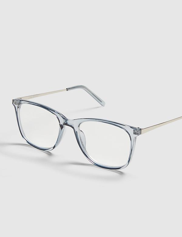 Blue Rectangle Reading Glasses