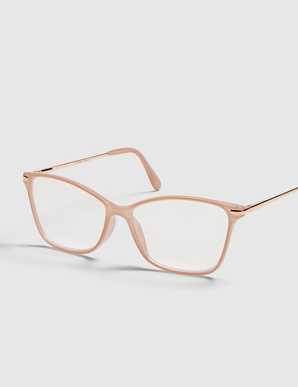 Blush Cateye Reading Glassed With Metal Temples