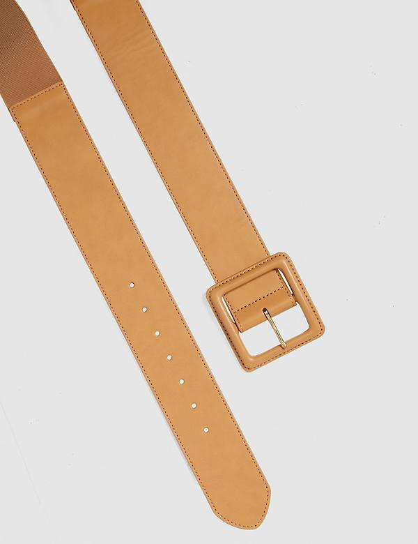 Tan Wide Stretch Belt With Square Buckle