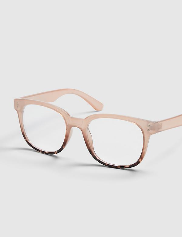 Blush & Tortoise Print Square Reading Glasses
