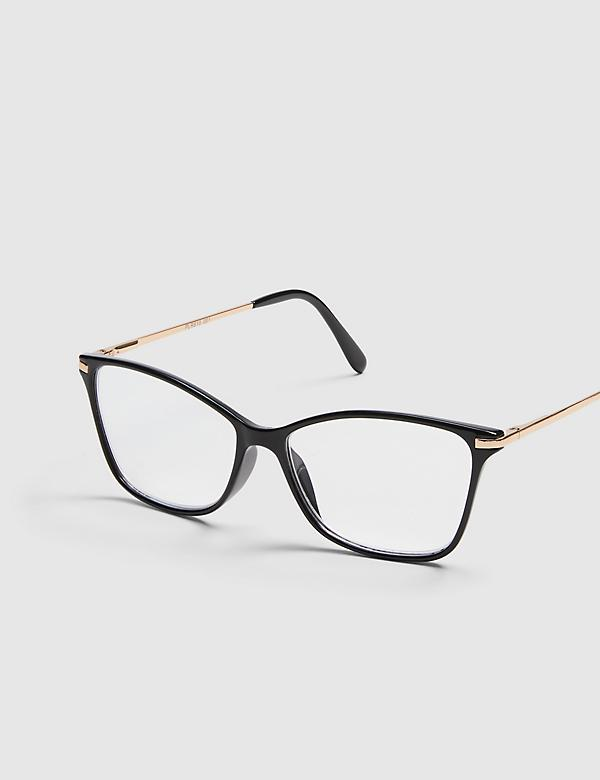 Black Cateye Reading Glasses with Metal Temples