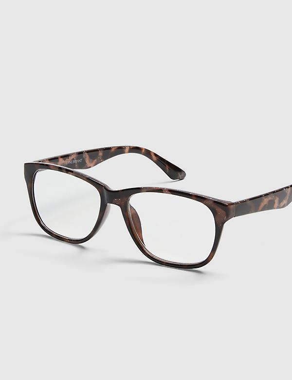 Tortoise Print Rectangle Reading Glasses With Glitter