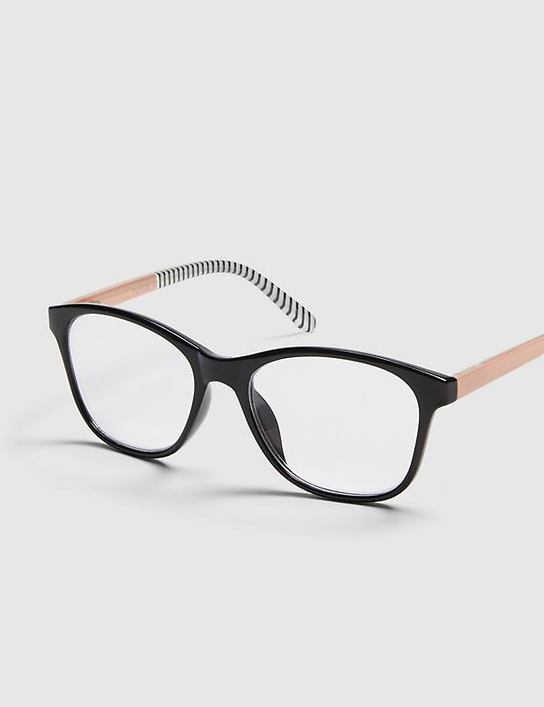 Striped-Temple Square Reading Glasses