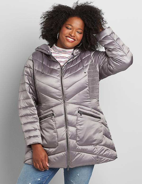 Shirred-Side Packable Puffer Jacket